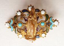 Broche en métal doré + émail 19e siècle Sainte Vierge Marie
