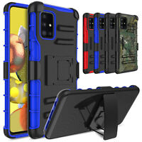 For Samsung Galaxy A51 / 5G Shockproof Rugged Belt Clip Holster Stand Case Cover