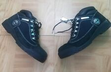 1990's Timberland Men Boots 10.5 Black Genuine Leather Ankle Hi Work Hiker Vtg