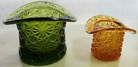 Vintage Fenton Glass Amber Daisy Hat & Green  Button & Daisy Hat  - Set - Pair