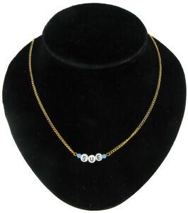 Sue - Name Necklace Gold Tone Blue Glass - Circa 1950-60