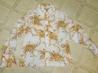 VINTAGE 70S SEARS BLOUSE TOP WOMENS MEDIUM FLORAL POLYESTER NEARNEW EUC