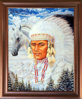Indian Chief and Horse Native American Wall Decor Mahogany Picture Framed 18x22