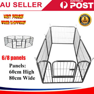 6 /8 Panel Pet Dog Playpen Puppy Exercise Cage Enclosure Fence Cat Play Pen