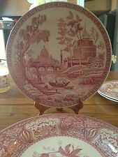 """SET OF 2 RED SPODE ARCHIVE COLLECTION GEORGIAN FLORAL & ROME PLATTERS 12.25"""""""
