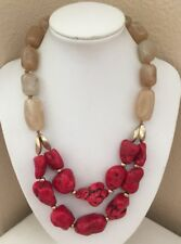 Chico's Huge Chunky Red Coral Beaded Double Strand Statement Necklace Gold Tone