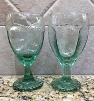 "Libbey Rock Sharpe CHIVALRY GREEN Water Goblet 6.5"" Vintage REPLACEMENT Pair(2)"