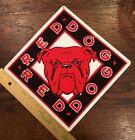 Vtg Red Dog Beer Tin Sign - English Bulldog Alcohol Promo 9x9
