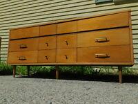 "VTG 69"" WIDE RETRO Mid Century Modern Long & Shallow Credenza Dresser 12 DRAWERS"