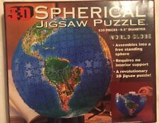 3-D Spherical Jigsaw Puzzle World Globe 530 Pieces 9.5 In. Diameter  Complete