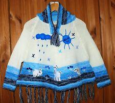 Kinder Poncho Gr.92*98, weiß türkis blau, Ärmel + XXL-Kapuze, Inka Indianer Peru