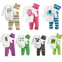 Newborn Infant Baby Kid Boy Girl Animal Romper Top Pants Hat Outfits Clothes Set