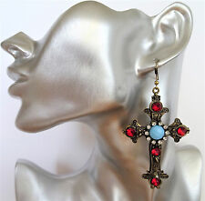 Fab & Sexy Jewelled Crucifix Cross Danlge Drop Earrings in Antiqued Gold Tone