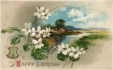 Happy Birthday White Flowers Sunny Blue Skies Over Water Floral Postcard