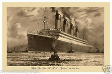 White Star Line RMS Olympic 1930's Poster 12 x 18