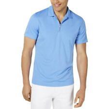 Alfani Mens Ottoman Ribbed 1/4 Zip Polo Shirt Luminous Blue Size Small $50