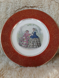 Vintage Pair of Salem Century Plates with Godey Fashion Images
