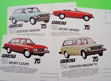 4 Diff 1974 FIAT CAR 75th ANNIVERSARY POSTCARDS w/ VINTAGE VIEWS Unused XLNT++