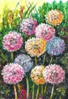 abstract Dandelions flowers ACEO miniature original painting acrylic art card