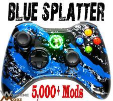 BLUE SPLATTER RAPID FIRE Modded Xbox 360 Controller MW3 COD BLACK OPS 2 jitter