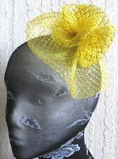 GOLD Fiore Fascinator con modisteria Spilla Clip Matrimonio Cappello da sposa Ascot RACE
