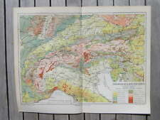 Antique geological map alps alpen 1902 landkaart