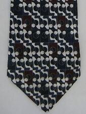 Adolfo Mens Neck Tie Necktie Silk Geometric Circles Navy Blue Burgundy Red White