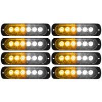 8x Car Truck Amber White 6LED Strobe Emergency Flashing Warning Light Bar 12-24V