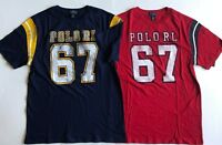 NWT Boys Polo Ralph Lauren Graphic Football Jersey Short Sleeve T-Shirt Navy Red