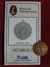 GÖDE ORDEN POLIZEIABZEICHEN - POLIZEIMARKE MAINZ + ZERTIFIKAT 0006