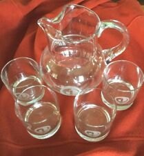 World Series of Golf Glass Pitcher & 4 Hi-ball Glasses Tiffany & Co. Firestone