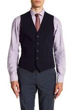 Topman Mens Vest Dark Navy Blue Size 40 V-Neck Five Button Two Pocket $75 969