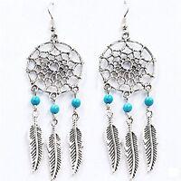 Feather Dream Catcher Mini Turquoise Blue Ear Cartilage Stud Earring Dangle