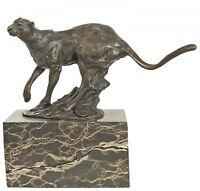 Bronzeskulptur Puma Raubkatze im Antik-Stil Bronze Figur 20cm