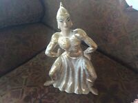 A Vintage Yona Lippin Siamese California Pottery gold ceramic figurine