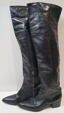 MIU MIU Made In Italy Black Leather Pointed Toe Over Knee Flat Boots IT41 UK8