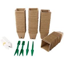 100x Seed Starter Peat Pots Kit Garden Seedling Trays Organic+100 Plant Marker