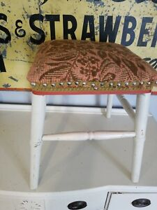 """Vintage Foot Stool ~ Woven Tapestry Seat 14"""" x 14"""" x 16"""" Wood Painted White"""