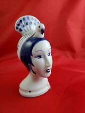 Vintage Japan Delft Style Doll Head White and Blue