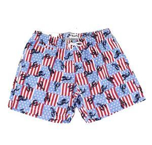 Trunks Mens Swimwear Red White Blue Size Large L Flag & Lobster Trunks $54 #040