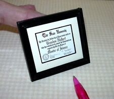 Miniature Diploma, MS Master of Science w/SEAL and NAME: DOLLHOUSE 1:12