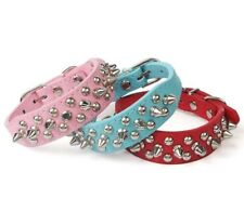 Small Dog Spiked Studded Rivets Dog Pet Faux PU Leather Collar Toy Small S XXS