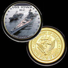 U.S. United States Navy | USS Iowa BB-61 | Military Gold Plated Challenge Coin