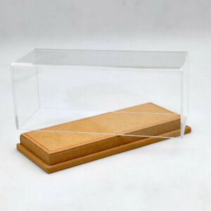 1/43 Acrylic Case Display Boxes Transparent Dustproof Brown Flannel Base Models