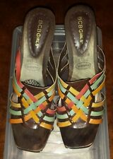 BCBGirls Leather and Wood Heels Multi-Colored Size 10