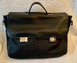 Large Vintage *JAEGER* Black Leather Briefcase Laptop Work Bag