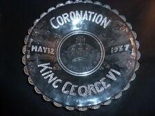 Superb Rare Vintage -George VI Coronation - Duncan Sandwich Glass Platter 1937