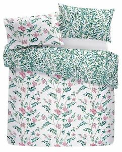 HAND-DRAWN STYLE FLOWERS LEAVES TEAL DOUBLE DUVET COVER & ANNEAU TOP CURTAINS