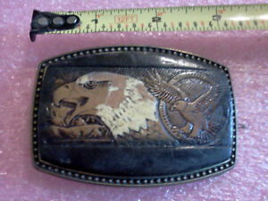 Alumiline 4108 BB-317 Brass Buckle w/Tooled leather accent. American Eagle