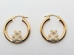 Peter Bram Designs PBD 14K 585 Hoop Earrings w/ Sterling Silver 925 TEDDY BEARS